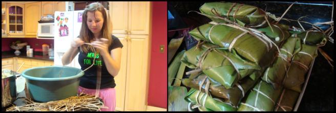 Beim Zubereiten von Tamalitos -- Teigtaschen mit Reis & Fleisch in Bananenblätter